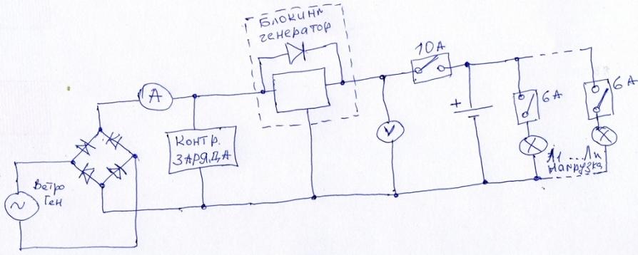 Схема подключения ветряка к